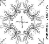 black and white seamless ...   Shutterstock .eps vector #758644147