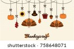 thanksgiving card or background.... | Shutterstock .eps vector #758648071