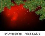 winter background with fir... | Shutterstock .eps vector #758652271