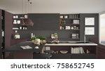 modern wooden kitchen with... | Shutterstock . vector #758652745