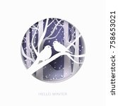 hello winter abstract paper cut ... | Shutterstock .eps vector #758653021