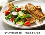 tofu steak with snow peas and... | Shutterstock . vector #758654785
