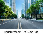 empty highway with cityscape of ... | Shutterstock . vector #758655235
