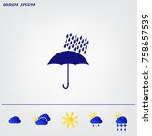 umbrella and rain drops. vector ... | Shutterstock .eps vector #758657539