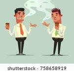 two worker friends drinking... | Shutterstock .eps vector #758658919