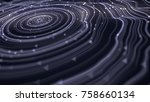 hypnotic wavy white rings with... | Shutterstock . vector #758660134