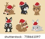 these cute animals put on santa ... | Shutterstock .eps vector #758661097