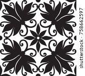 black and white seamless ...   Shutterstock .eps vector #758662597