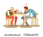 people play chess game. two man ... | Shutterstock .eps vector #758666491