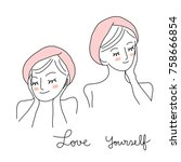 love yourself concept with cute ... | Shutterstock .eps vector #758666854