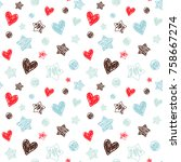 Stock vector hearts stars and dots in kids doodle style seamless vector pattern on the white background 758667274