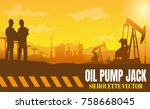 oil rig industry silhouettes ... | Shutterstock .eps vector #758668045
