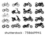 collection of motorcycles and... | Shutterstock .eps vector #758669941