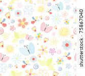summer pattern of flowers and... | Shutterstock .eps vector #75867040
