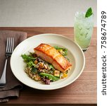 grilled salmon steak filet with ... | Shutterstock . vector #758674789
