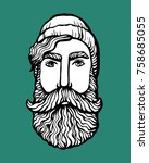 lumber hipster head with beard. ... | Shutterstock .eps vector #758685055