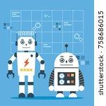 white smart robot illustration | Shutterstock .eps vector #758686015