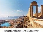 greece. rhodes island.... | Shutterstock . vector #758688799