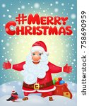 santa claus cartoon character . ... | Shutterstock .eps vector #758690959