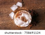 glass with cold latte macchiato ...   Shutterstock . vector #758691124