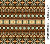 tribal vintage ethnic seamless | Shutterstock .eps vector #758692174