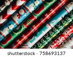 christmas wrapping paper rolls | Shutterstock . vector #758693137