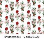 christmas vector seamless...   Shutterstock .eps vector #758693629