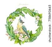 graceful floral vignette with... | Shutterstock . vector #758693665