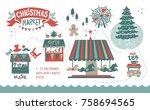 christmas market illustration....   Shutterstock .eps vector #758694565