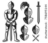 knights armour set of vector... | Shutterstock .eps vector #758695144