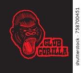 club gorilla mascot logo...   Shutterstock .eps vector #758700451