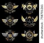 vintage heraldry design...   Shutterstock .eps vector #758701261