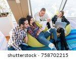 multiethnic startup business... | Shutterstock . vector #758702215