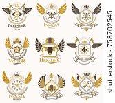 collection of vector heraldic... | Shutterstock .eps vector #758702545