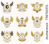 collection of vector heraldic... | Shutterstock .eps vector #758702551