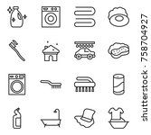 thin line icon set   cleanser ... | Shutterstock .eps vector #758704927