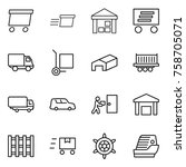 thin line icon set   delivery ... | Shutterstock .eps vector #758705071