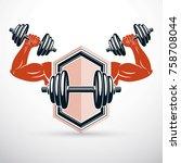 vector illustration of athletic ... | Shutterstock .eps vector #758708044