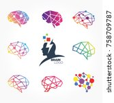 flat line icons set of brain ... | Shutterstock .eps vector #758709787