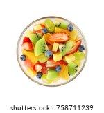 bowl of fresh fruit salad ... | Shutterstock . vector #758711239
