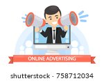 online advertising concept....   Shutterstock .eps vector #758712034