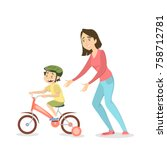 mother teaching boy to ride the ... | Shutterstock .eps vector #758712781