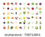 fruits and vegetables set. all... | Shutterstock .eps vector #758712841