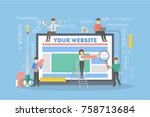 Website building illustration. People carrying blocks and tools creating website. - stock vector