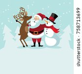 christmas background with cute ... | Shutterstock .eps vector #758713699