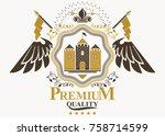 vector vintage heraldic coat of ... | Shutterstock .eps vector #758714599
