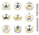 ancient crowns emblems set.... | Shutterstock .eps vector #758714635