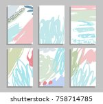 abstract templates. set of card ... | Shutterstock .eps vector #758714785