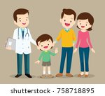 cute family visiting the doctor.... | Shutterstock .eps vector #758718895