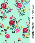 seamless graphical hand painted ... | Shutterstock . vector #758721961